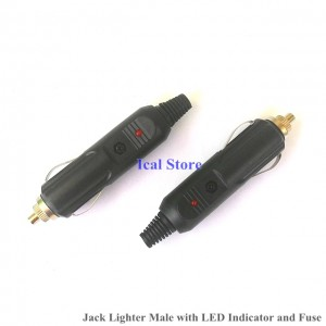 Jack Lighter Male dengan LED dan Fuse
