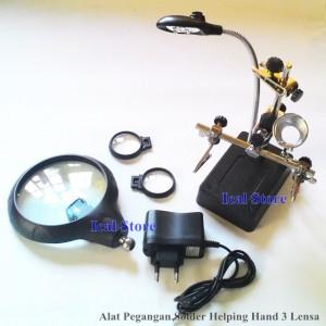 Helping Hand Alat Pegangan Solder 3 Lensa dan Led