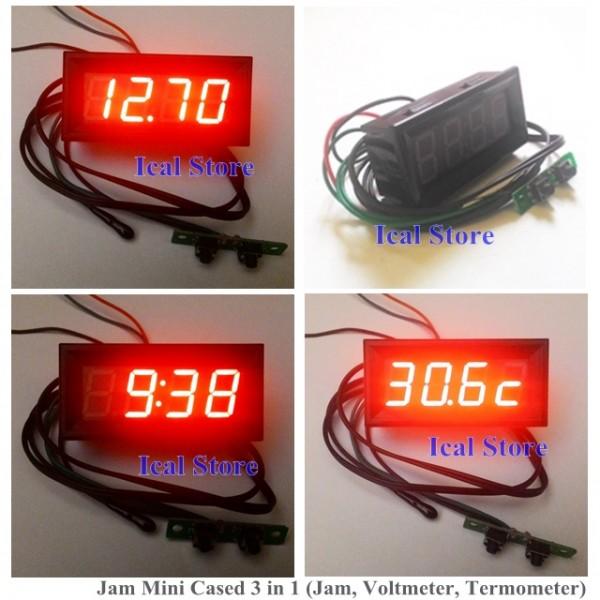 Jam Mini Cased 3 in 1 (Jam, Voltmeter, Termometer)